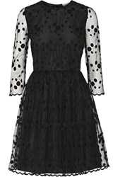Red Valentino Layered Embroidered Tulle And Crepe Mini Dress Black