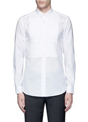 Ports 1961 Pleated Bib Front Cotton Shirt White