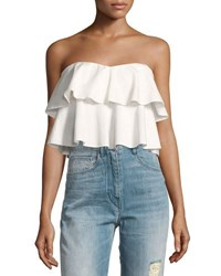 Rebecca Taylor Strapless Tiered Ruffle Crop Top White