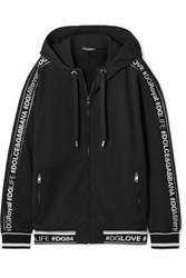 Dolce And Gabbana Hooded Intarsia Trimmed Cotton Jersey Track Jacket Black