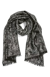 Women's Badgley Mischka Floral Jacquard Scarf Black Black Silver