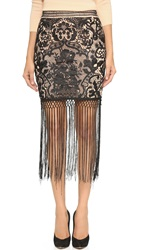 Endless Rose Fringe And Lace Skirt Black Combo