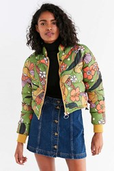 Urban Outfitters Uo Gretel Reversible Cropped Puffer Jacket Dark Green
