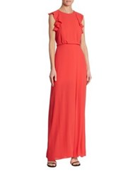 Bcbgmaxazria Angelika Ruffled Gown Red Berry