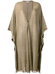 Brunello Cucinelli Sequin Embellished Oversized Cardigan Brown
