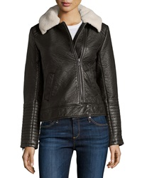 Bagatelle Faux Leather Jacket W Faux Fur Collar Black Slate