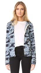Monrow Zip Up Camo Hoodie Dusty Blue