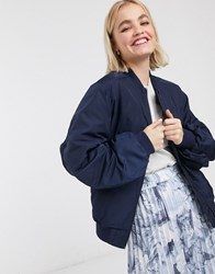 Monki Nylon Bomber Jacket In Navy Blue