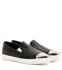 Miu Miu Leather Slip On Sneakers Black