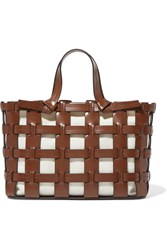 Trademark Frances Caged Leather And Canvas Tote Tan