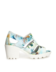 Swear Jane 4 Blue Floral Mid Heeled Sandals