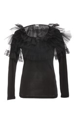 Alexis Mabille Tulle Accent Long Sleeve Top Black