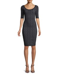 Milly Laser Cut Pointelle Sheath Dress Black White