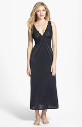 Natori Women's 'Aphrodite Zen' Floral Lace Trim Nightgown Black
