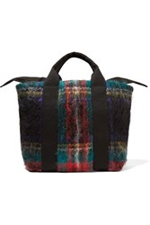 Muun Yotto Tartan Mohair Blend And Cotton Canvas Tote Red