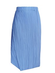Jil Sander Caucciu Pleated Silk Skirt Blue
