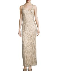 Sue Wong Halter Neck Embellished Gown Champagne