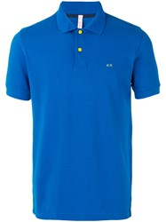 Sun 68 Contrast Logo Polo Shirt Men Cotton Spandex Elastane M Blue