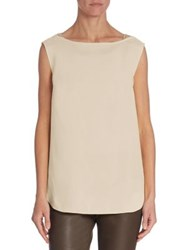 Brunello Cucinelli Sleeveless Silk Top Latte