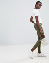 Selected Muse Cropped Slim Tailored Trousers Grape Leaf Green