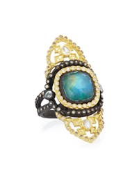 Old World Malachite Rainbow Moonstone Saddle Scroll Ring Armenta Gold