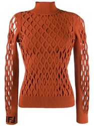 Fendi Mesh Effect Sweater Orange