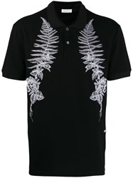 Alexander Mcqueen Floral Motif Embroidered Polo Shirt Black