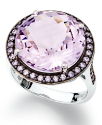 Macy's Sterling Silver Ring Natural Pink Amethyst 7 1 5 Ct. T.W. And Purple Swarovski Zirconia 5 8 Ct. T.W. Ring