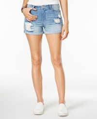 Vanilla Star Juniors' Ripped Denim Shorts Bryan Wash