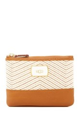 Ugg Classic Leather Trim Straw Mini Wallet Brown