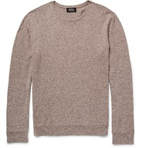 A.P.C. Melange Cotton And Linen Blend Sweater Brown