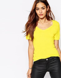 Vila V Neck T Shirt Yellow