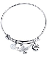 Disney Genie Crystal Charm Bracelet In Stainless Steel