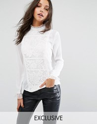 Missguided Exclusive Lace Detail Long Sleeve Blouse White