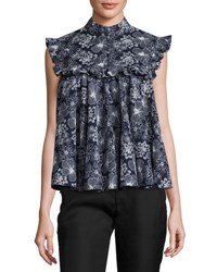 Co Floral Ruffled Sleeveless Blouse Navy