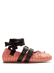 Miu Miu Buckle Fastening Woven Leather Ballet Flats Pink Multi