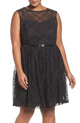 Ellen Tracy Plus Size Women's Plaid Mesh Fit And Flare Dress