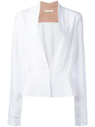 Ssheena Plunge Front Blouse White