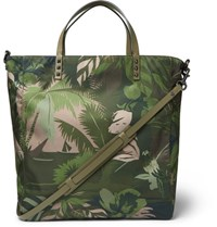 Valentino Studded Printed Shell Tote Bag Green
