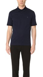 Z Zegna Perforated Cotton Polo Navy