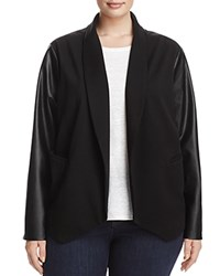 Lysse Plus York Faux Leather Sleeve Knit Blazer Black