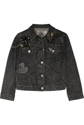 Marc Jacobs Embellished Appliqued Denim Jacket Black