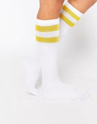 Leg Avenue Athletic Knee High Socks White And Gold