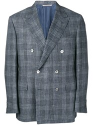 Canali Plaid Double Beasted Blazer Blue