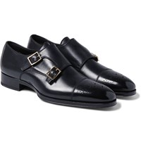 Tom Ford Austin Polished Leather Monk Strap Brogues Black