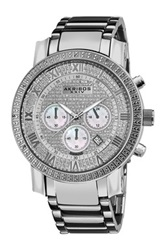 Akribos Xxiv Men's Diamond Chrono Watch Metallic