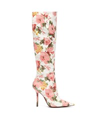 Vetements Floral Print Leather Knee High Boots Pink White