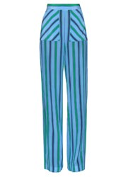 Msgm Wide Leg Striped Silk Trousers Blue Multi