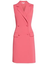 Gina Bacconi Crepe Double Breasted Coat Dress Coral Red