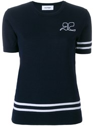 Courreges Striped Knitted Tee Blue